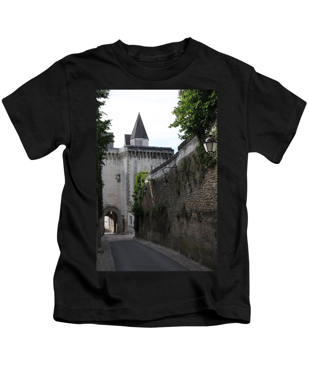 Town Gate Kids T-Shirt featuring the photograph Town Gate - Loches - France by Christiane Schulze Art And Photography