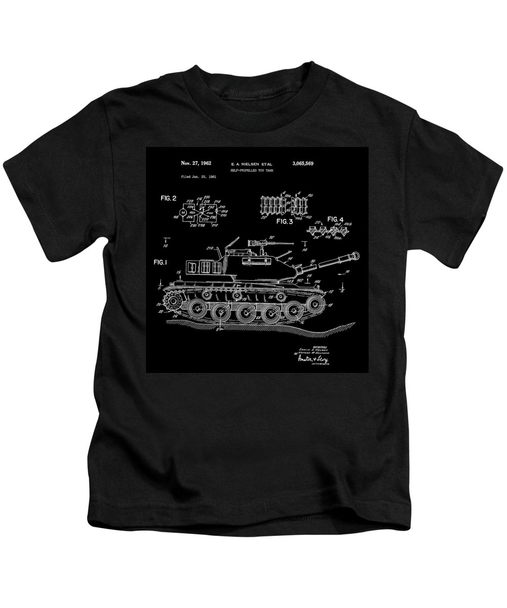 Toy Army Tank Patent Kids T-Shirt featuring the digital art Toy Tank by Dan Sproul