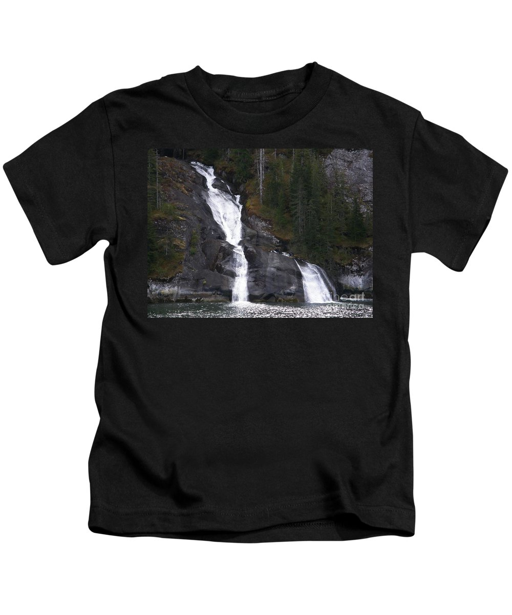 Tracy Arm Fjord Kids T-Shirt featuring the photograph Tracey Arm Fjord Waterfall by Bev Conover