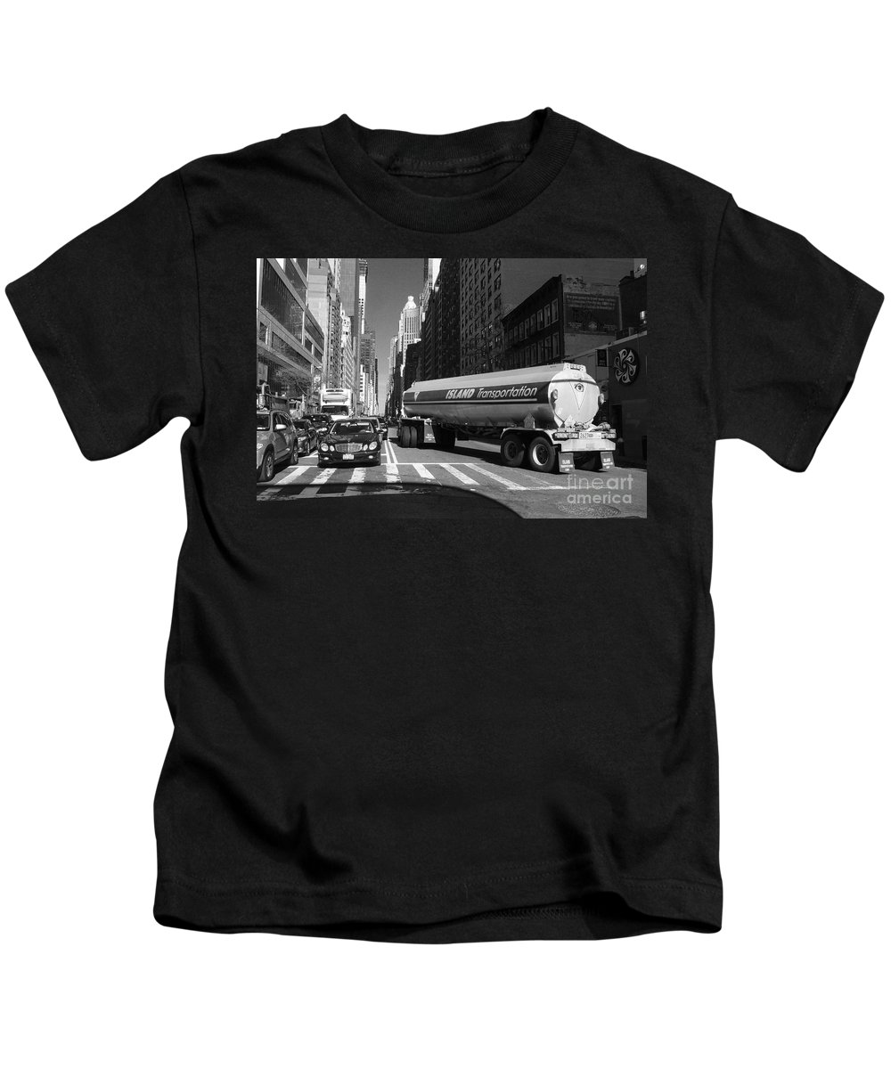 Traffic Kids T-Shirt featuring the photograph Traffic - New York In Perspective Series by Miriam Danar