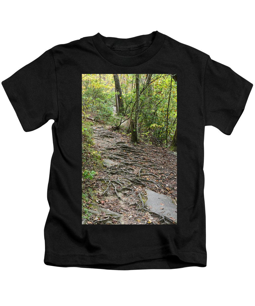 Autumn Kids T-Shirt featuring the photograph Trail Of Roots by Steve Samples