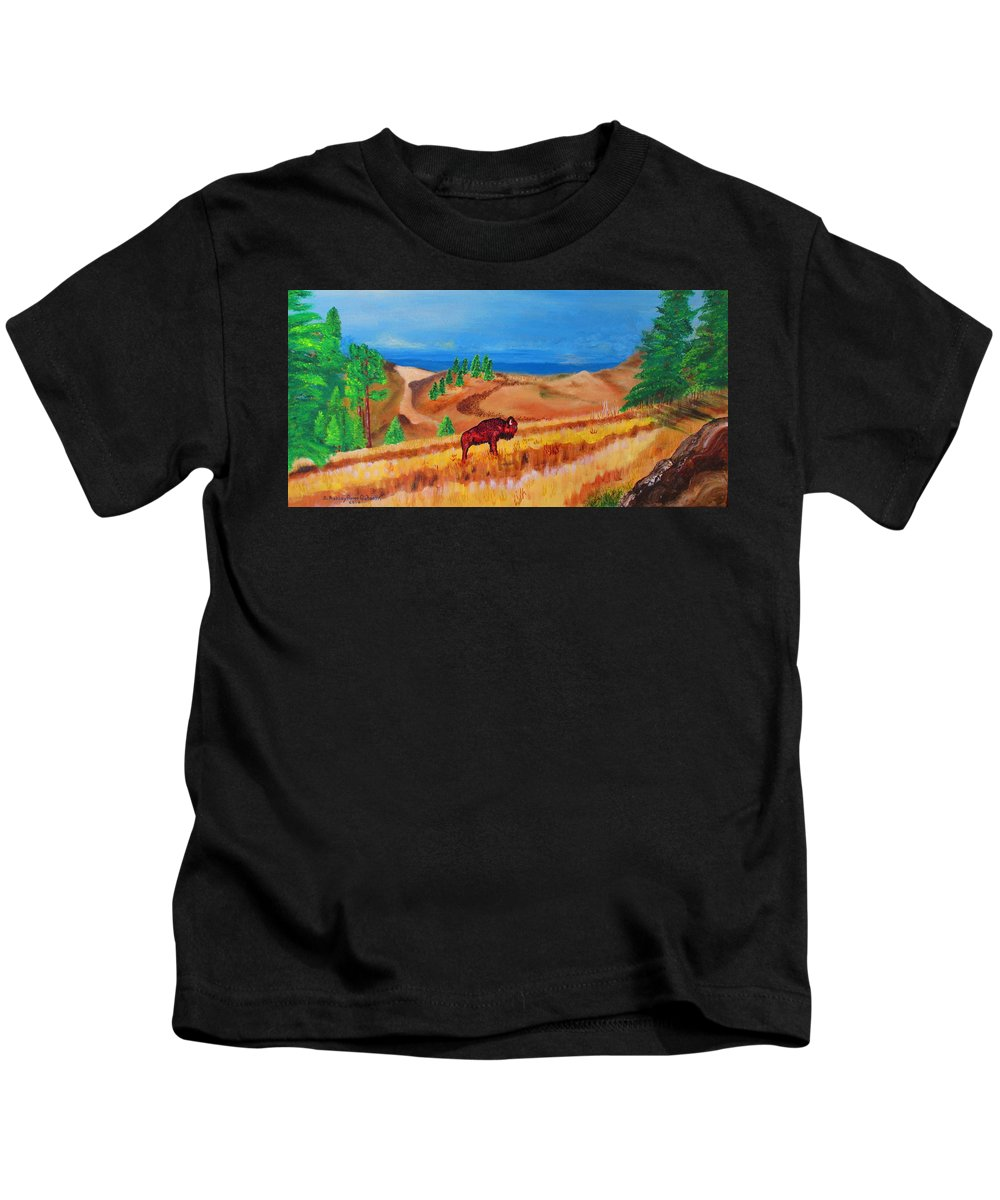 Art Kids T-Shirt featuring the painting Monarch Of The Plains by Ashley Goforth