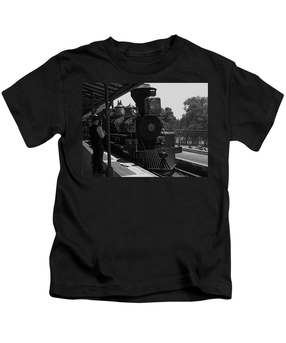 Black And White Kids T-Shirt featuring the photograph Train Ride Magic Kingdom Black And White by Thomas Woolworth