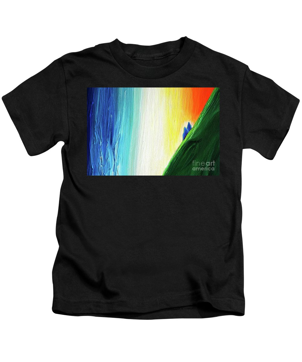 Travelers Kids T-Shirt featuring the painting Travelers Rainbow Waterfall Detail by First Star Art