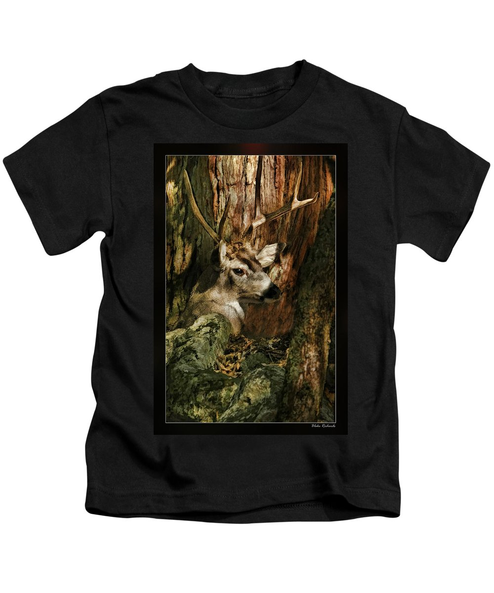 Deer Kids T-Shirt featuring the photograph Tree And Buck by Blake Richards