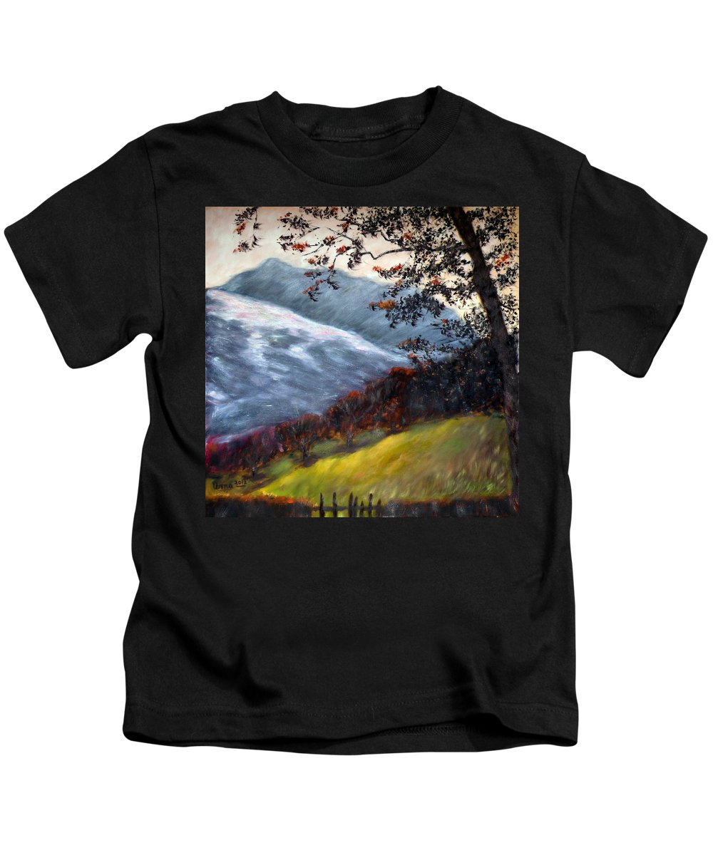 Trees And Hills Kids T-Shirt featuring the painting Trees And Hills by Uma Krishnamoorthy