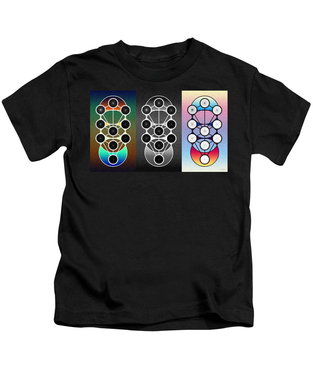 Tri-kabalah Chart Kids T-Shirt featuring the digital art Tri-kabalah Chart by Derek Gedney