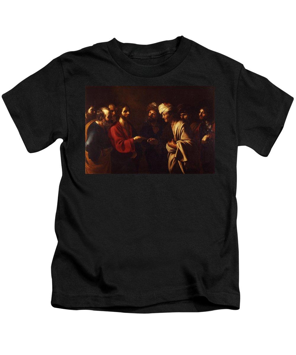 Bartolomeo Manfredi Kids T-Shirt featuring the painting Tribute To Caesar by Bartolomeo Manfredi