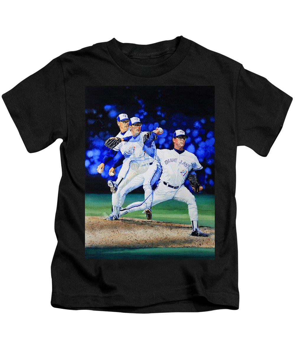 Sports Art Kids T-Shirt featuring the painting Triple Play by Hanne Lore Koehler