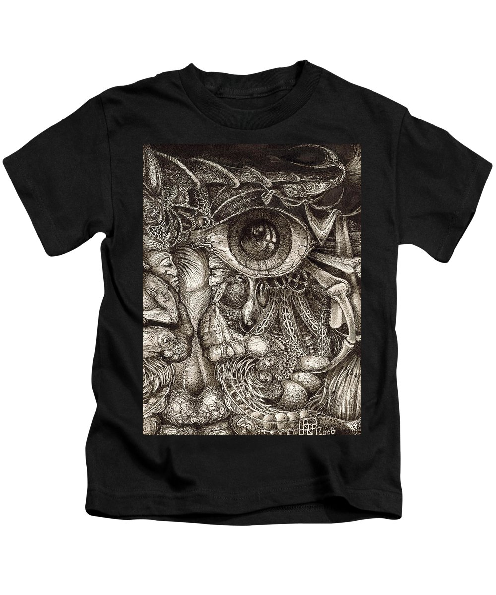 Surreal Kids T-Shirt featuring the drawing Tripping Through Bogomils Mind by Otto Rapp
