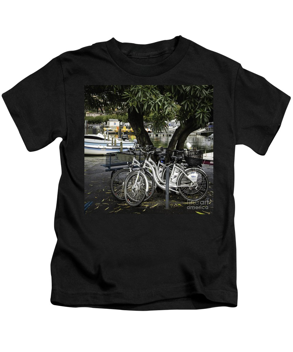 Switzerland Kids T-Shirt featuring the photograph Trois Bikes by Timothy Hacker