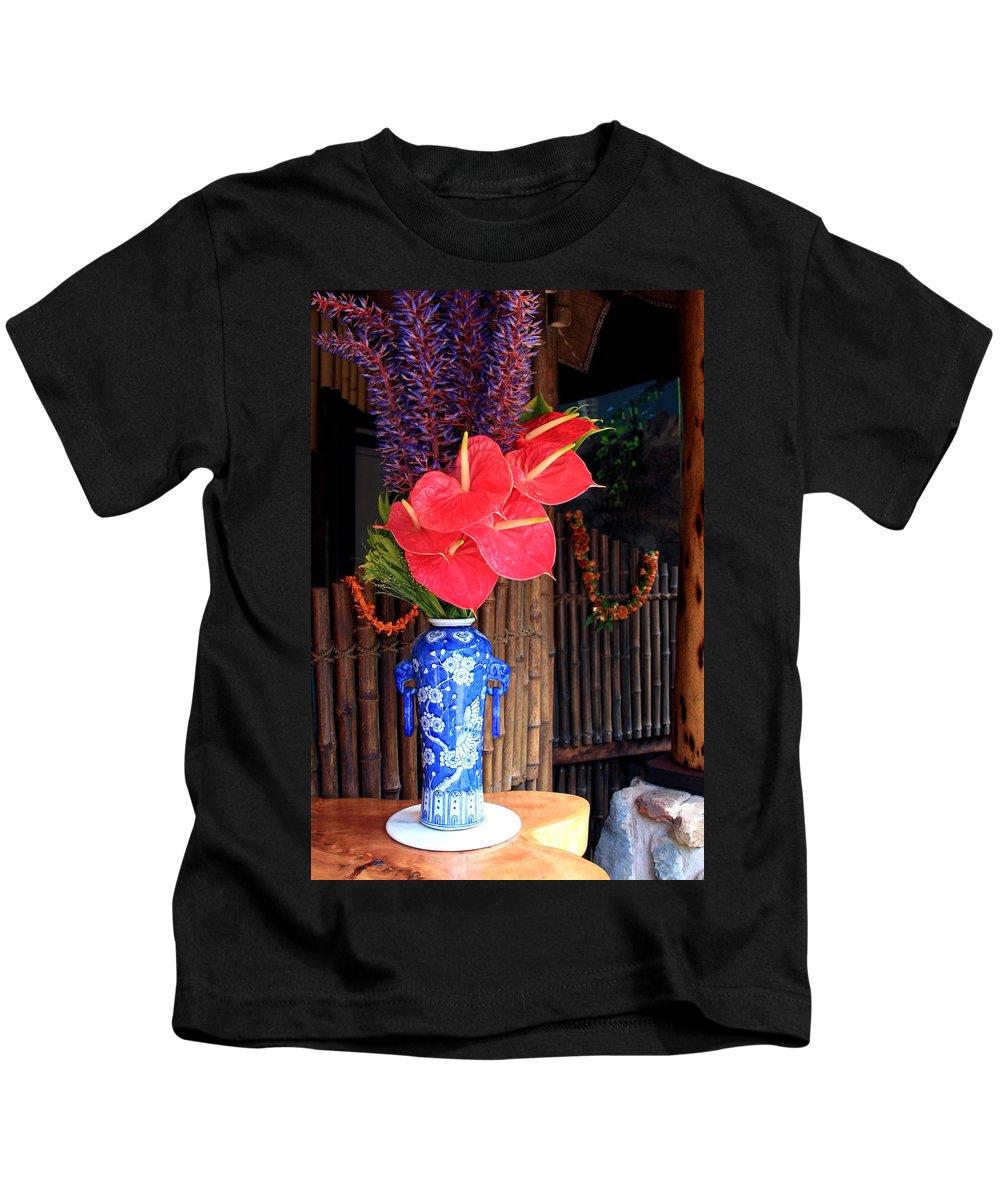 Tropical Flowers Vase Kids T-Shirt featuring the photograph Tropical Flowers In A Porcelain Vase by Karon Melillo DeVega