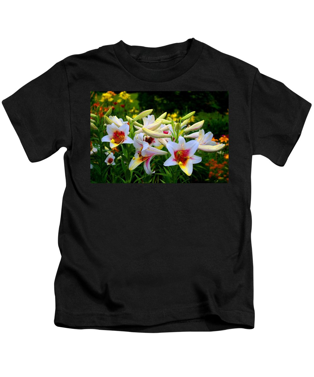 Lily Kids T-Shirt featuring the photograph Trumpet Lilies by Kathryn Meyer