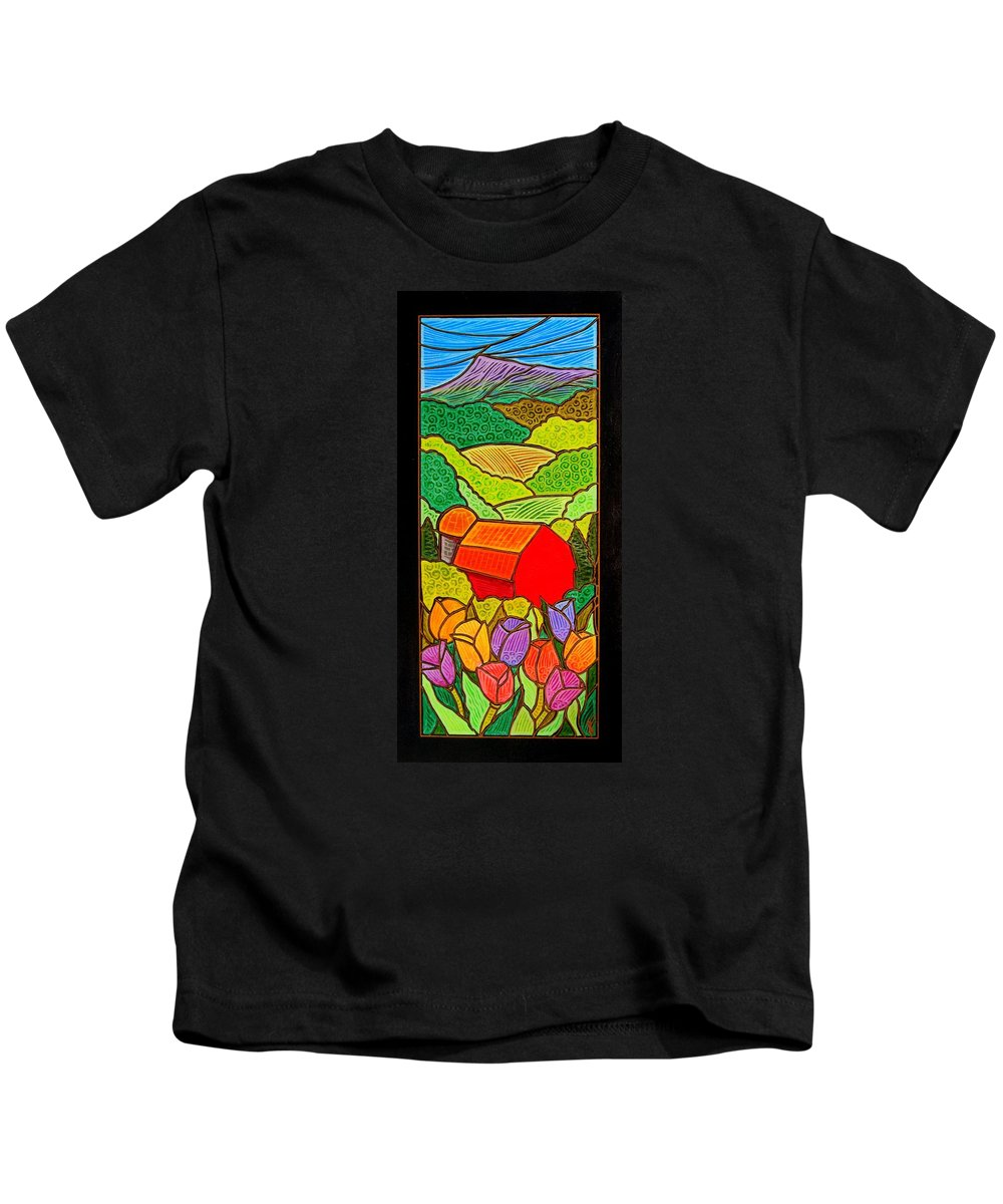 Tulips Kids T-Shirt featuring the painting Tulips On A Farm In Springtime by Jim Harris