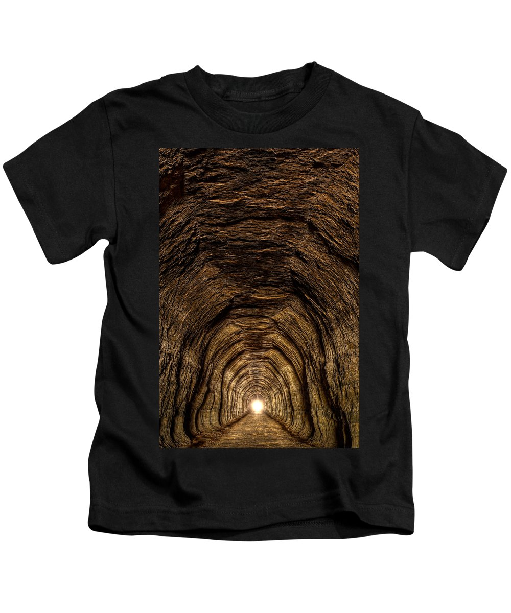 Bike Kids T-Shirt featuring the photograph Tunnel 3 On Elroy To Sparta Bike Trail Wisconsin by Steve Gadomski