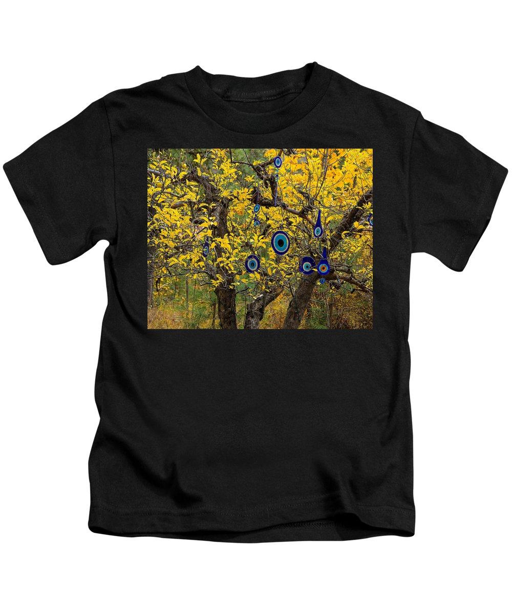 Trees Kids T-Shirt featuring the photograph Turkey Eyes by Daren Johnson