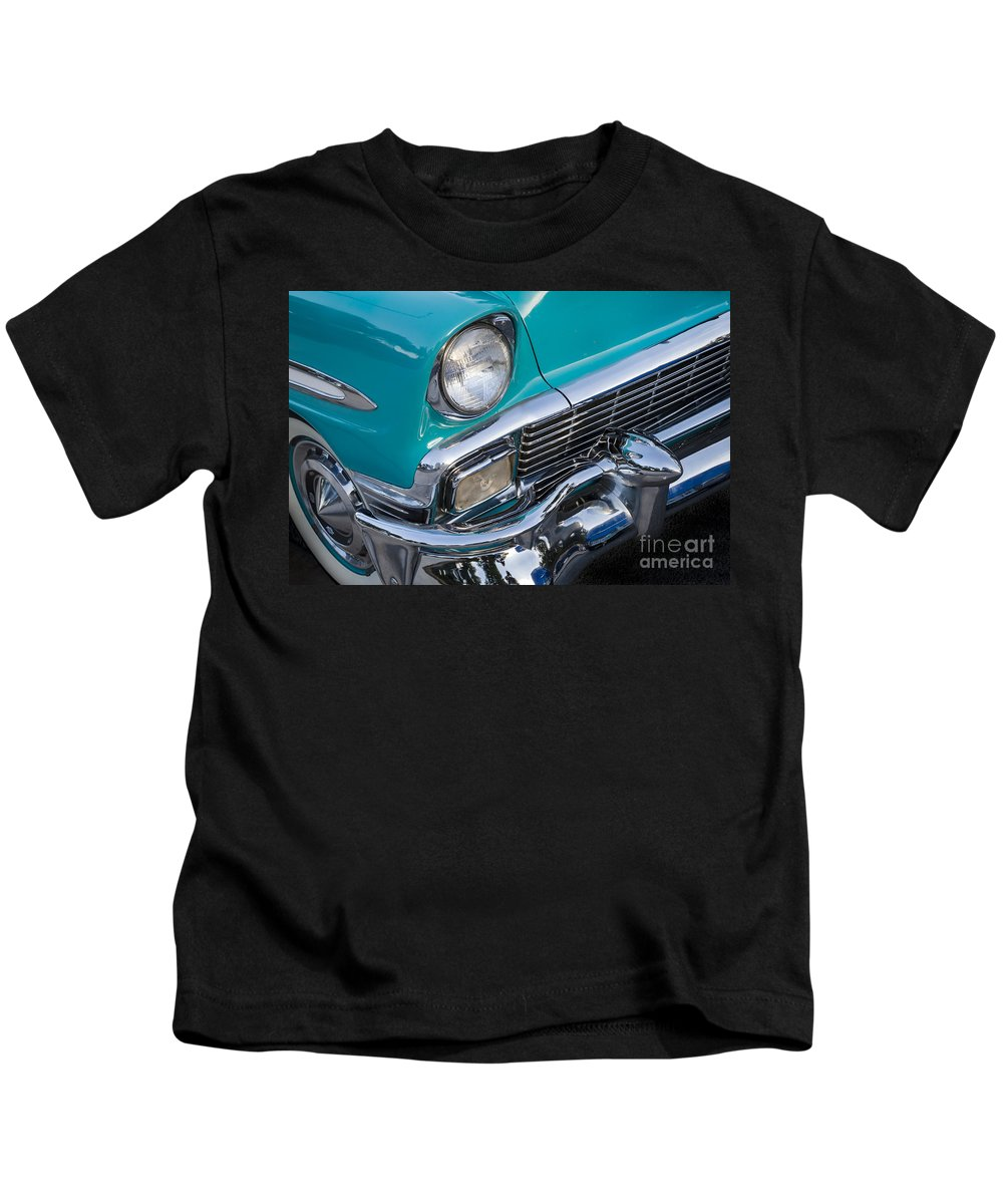 1956 Chevrolet Kids T-Shirt featuring the photograph Turquoise 1956 Belair by Dennis Hedberg