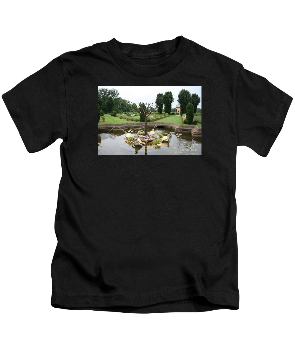 Fountain Kids T-Shirt featuring the photograph Turtle Fountian And Garden Chateau De Cormatin by Christiane Schulze Art And Photography