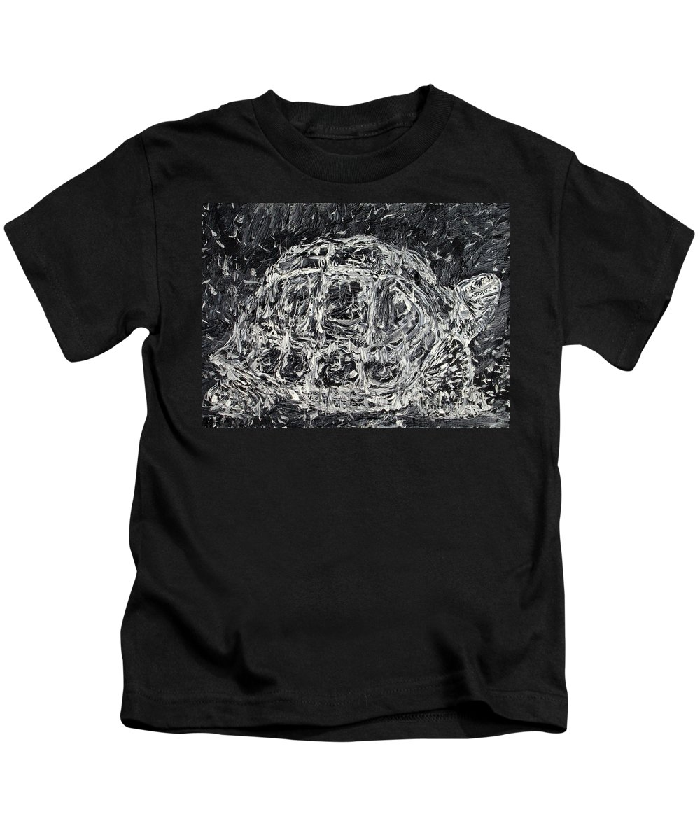 Turtle Kids T-Shirt featuring the painting Turtle - Oil Portrait by Fabrizio Cassetta