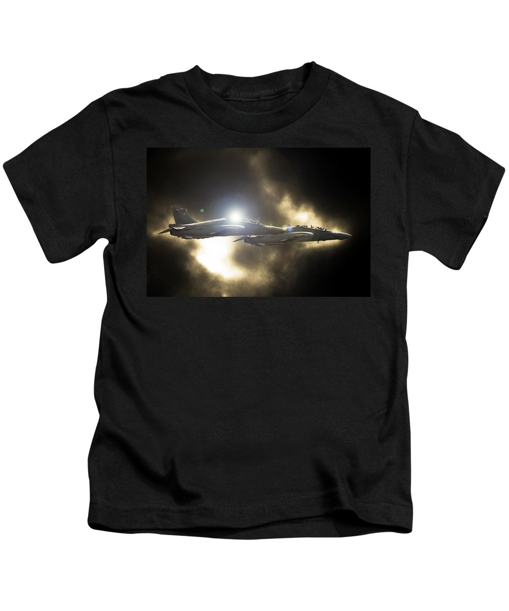 Bae Systems Hawk Mk 120 Kids T-Shirt featuring the photograph Twin Hawk by Paul Job