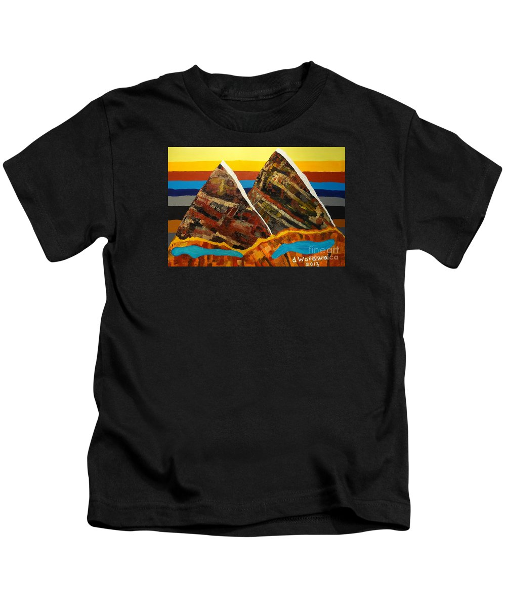 Abstract Kids T-Shirt featuring the painting Twin Peaks by Douglas W Warawa