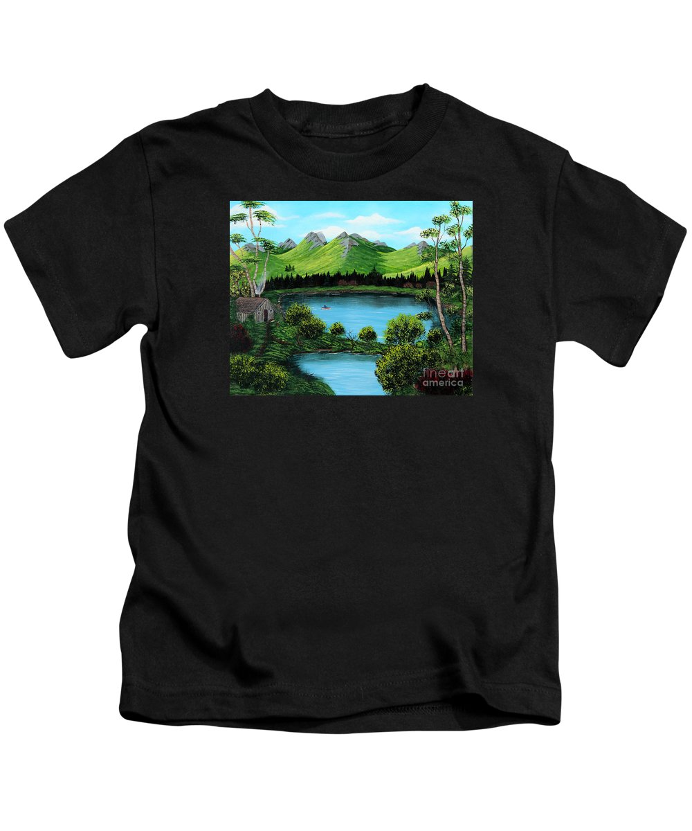 Barbara Griffin Kids T-Shirt featuring the painting Twin Ponds by Barbara Griffin