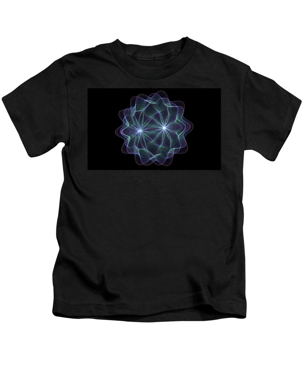 Fractal Kids T-Shirt featuring the painting Twin Pulsar by Bruce Nutting