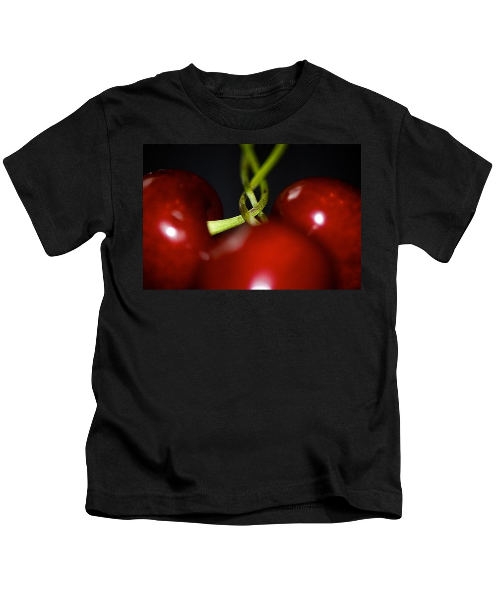 Cherries Kids T-Shirt featuring the photograph Twisted Cherries by Lisa Knechtel
