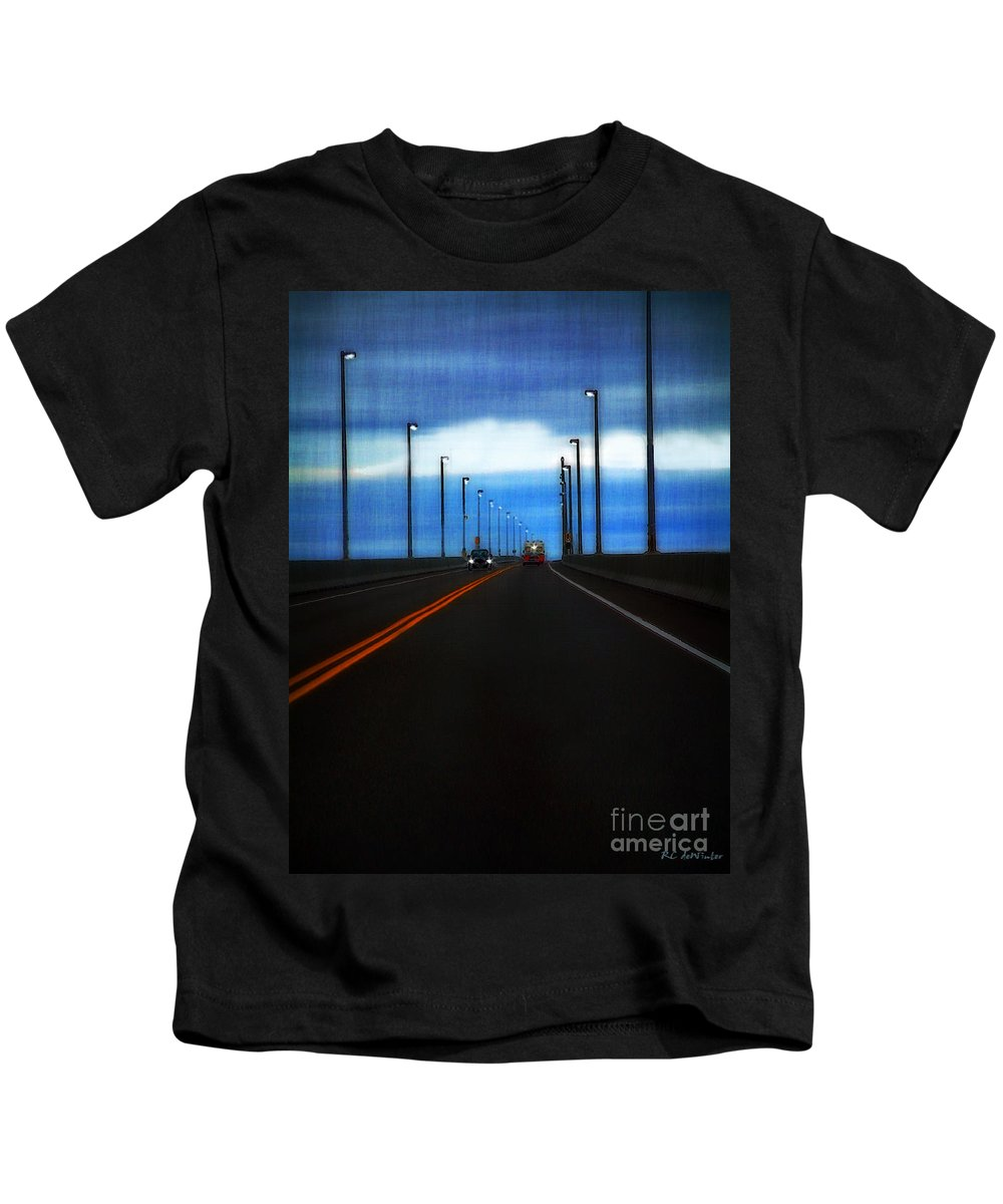 Cars Kids T-Shirt featuring the painting Two-lane Blacktop by RC DeWinter