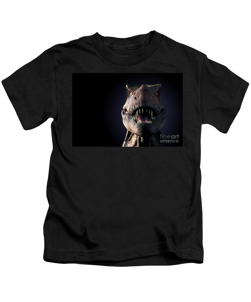 3d Visualisation Kids T-Shirt featuring the photograph Tyrannosaurus Rex by Science Picture Co