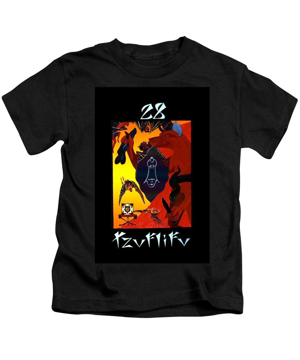 Shadow Tarot Kids T-Shirt featuring the painting Tzuflifu  - The Emperor by Linda Falorio