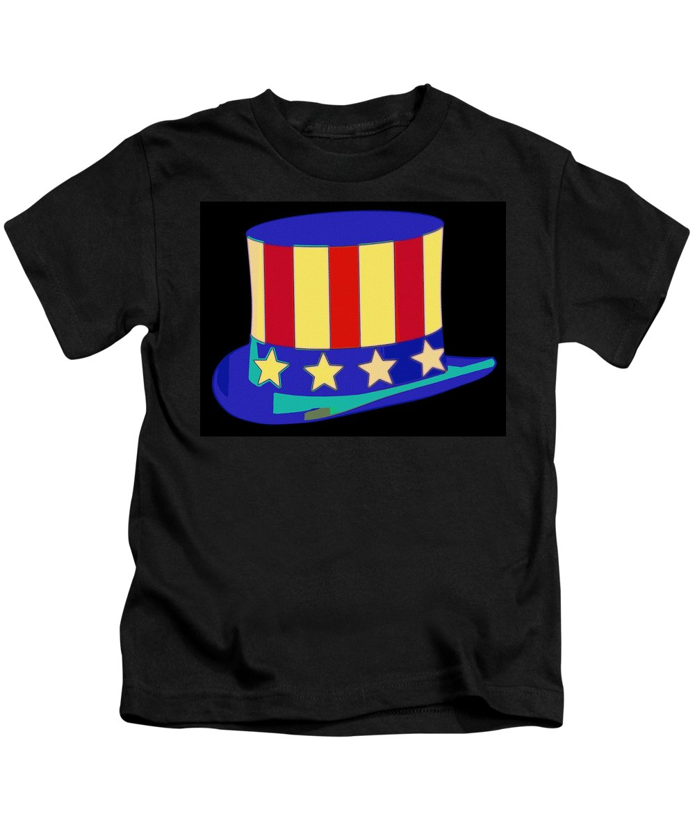 Uncle Sam Kids T-Shirt featuring the painting Uncle Sam Hat Pop Art by Florian Rodarte