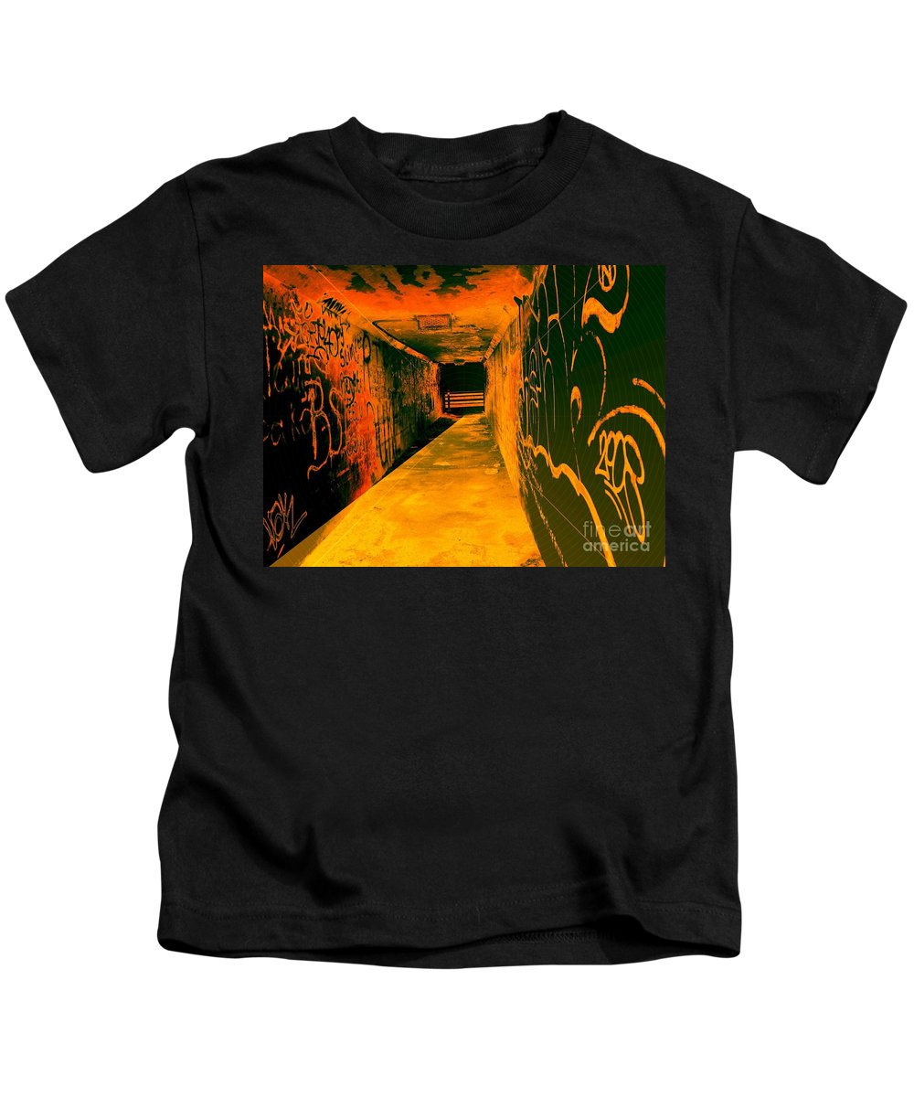 Tunnel Kids T-Shirt featuring the photograph Under The Bridge by Ze DaLuz