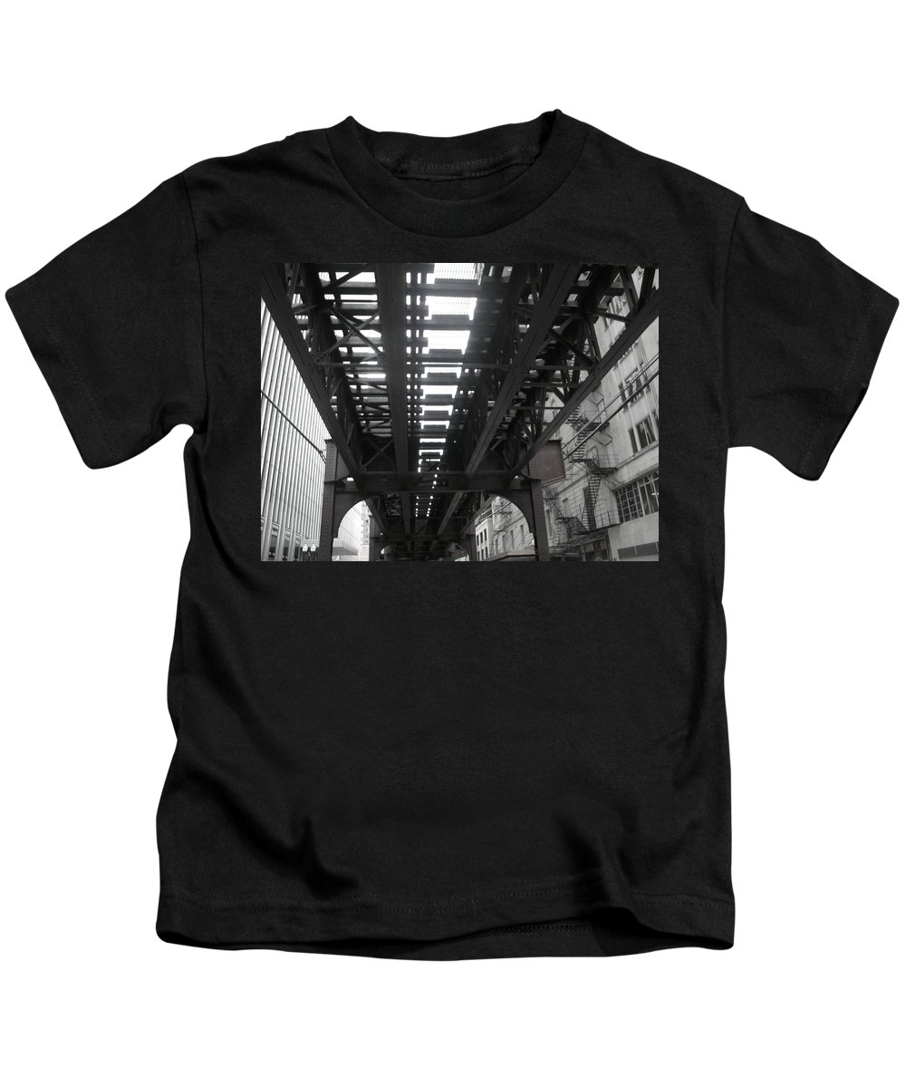 Chicago Kids T-Shirt featuring the photograph Under The Tracks by Kay Mathews