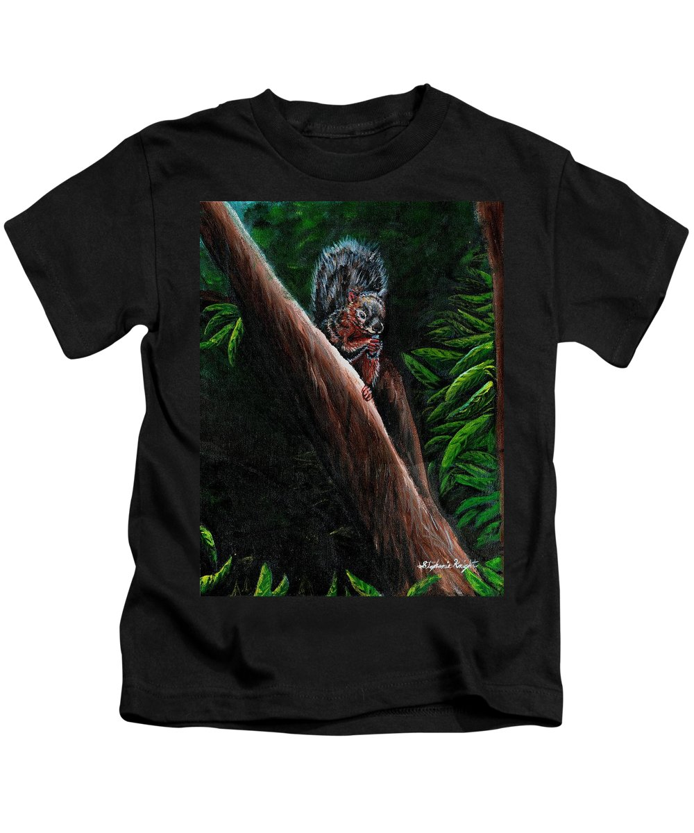 Squirrel Kids T-Shirt featuring the painting Union Squirrel by Stephanie Knight