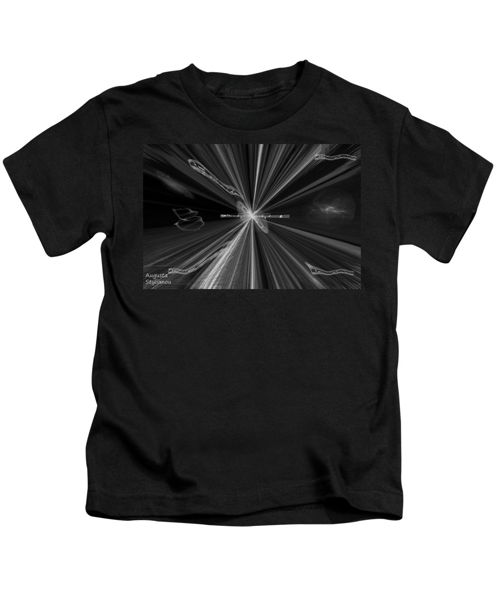 Augusta Stylianou Kids T-Shirt featuring the digital art Universe Carols by Augusta Stylianou