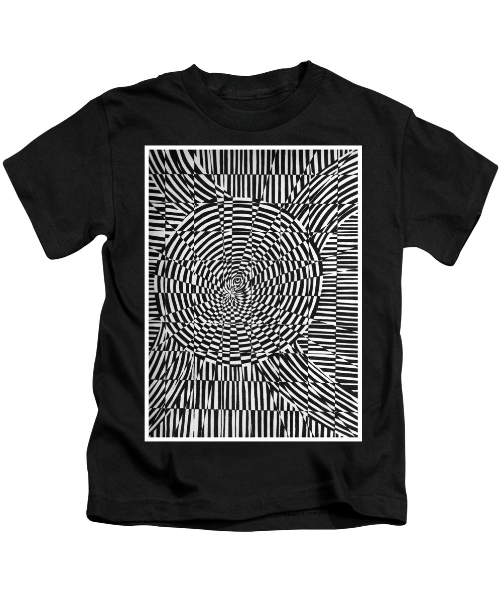 Abstract Kids T-Shirt featuring the drawing Unraveled by Crystal Hubbard