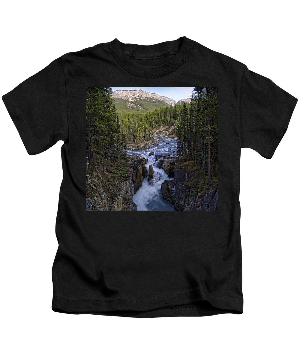 Sunwapta Kids T-Shirt featuring the photograph Upper Sunwapta Falls - Canadian Rockies by Daniel Hagerman
