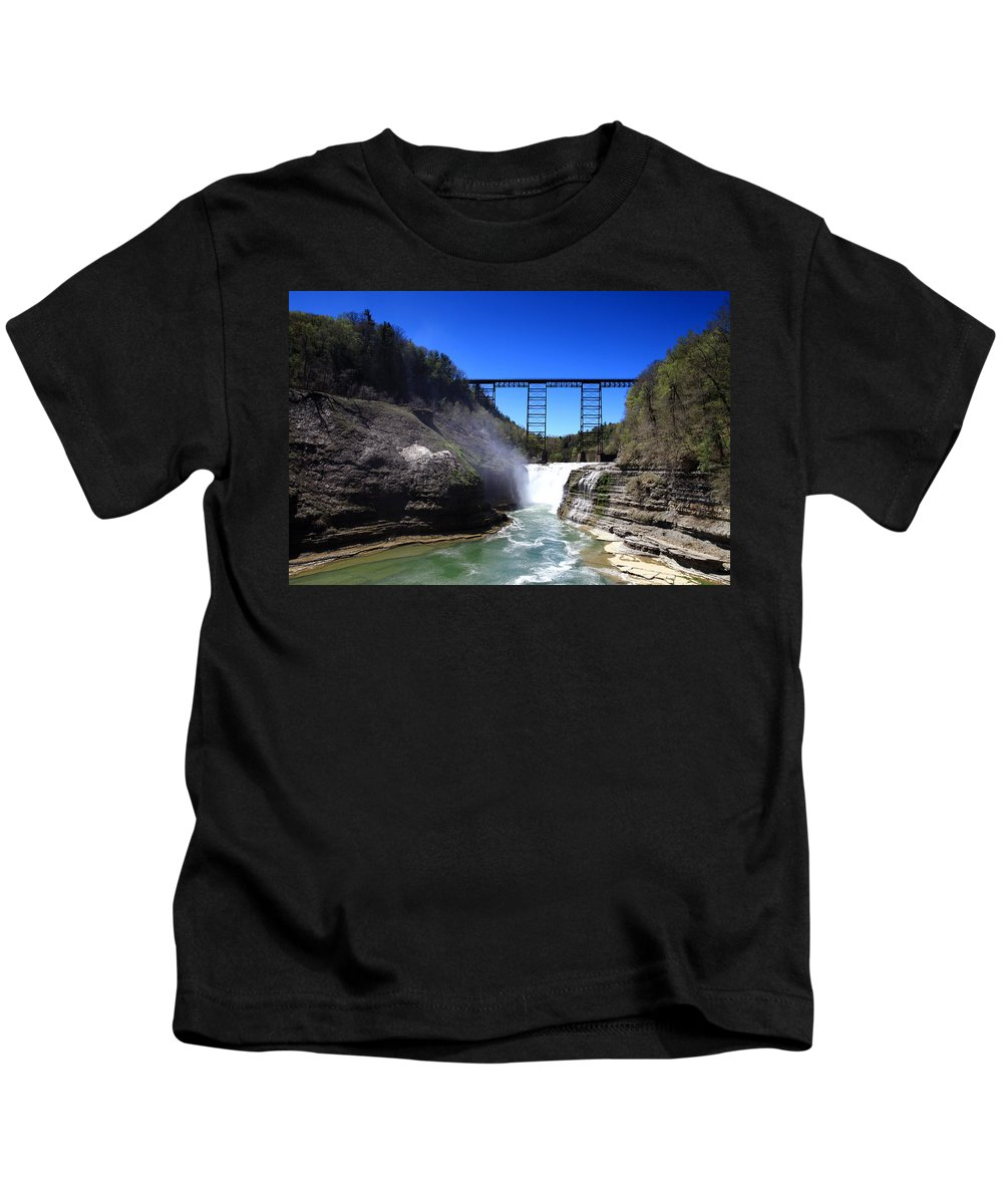Up Kids T-Shirt featuring the painting Upper Waterfalls In Letchworth State Park by Paul Ge