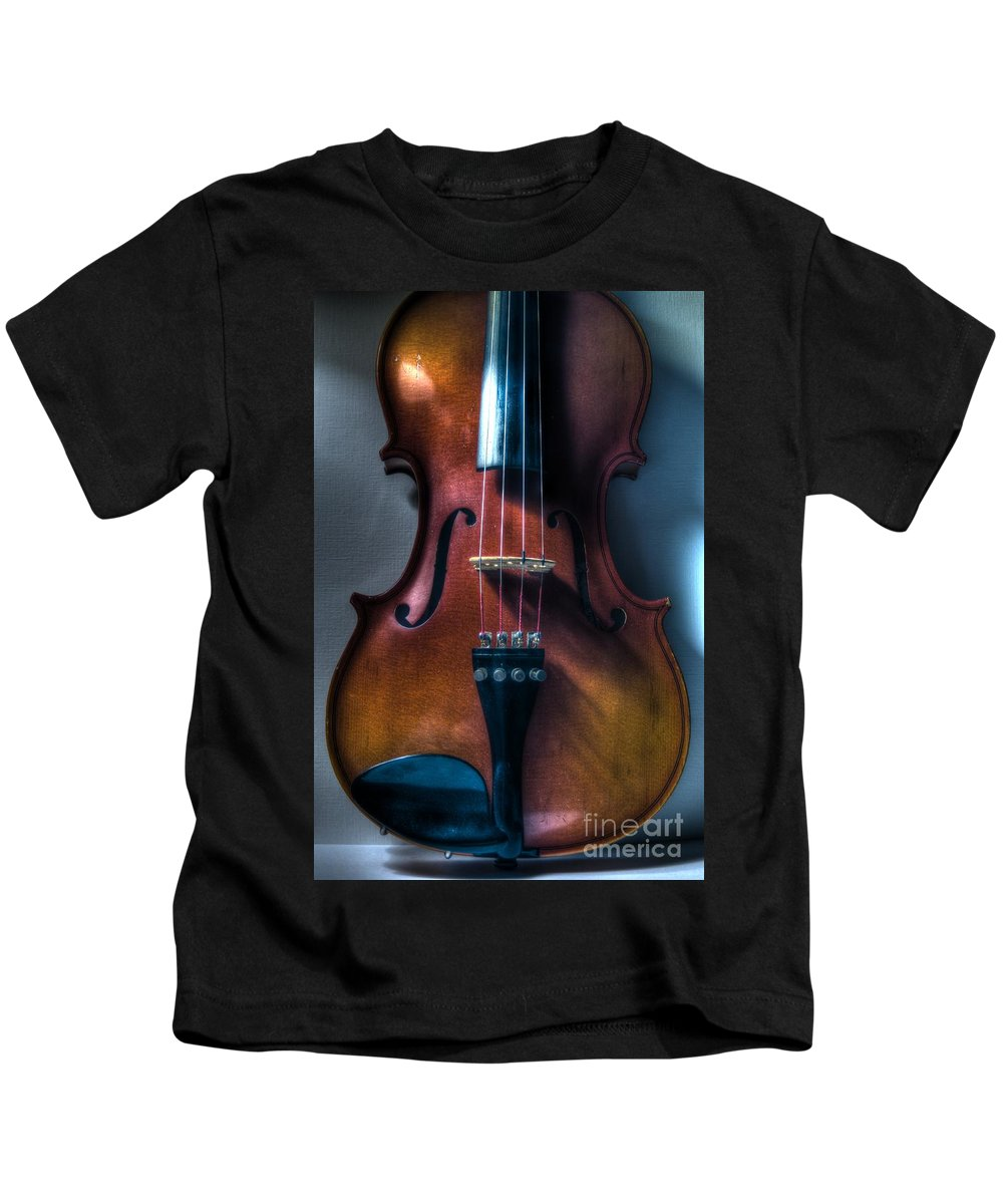Violin Kids T-Shirt featuring the photograph Upright Violin - Cool by J M Lister