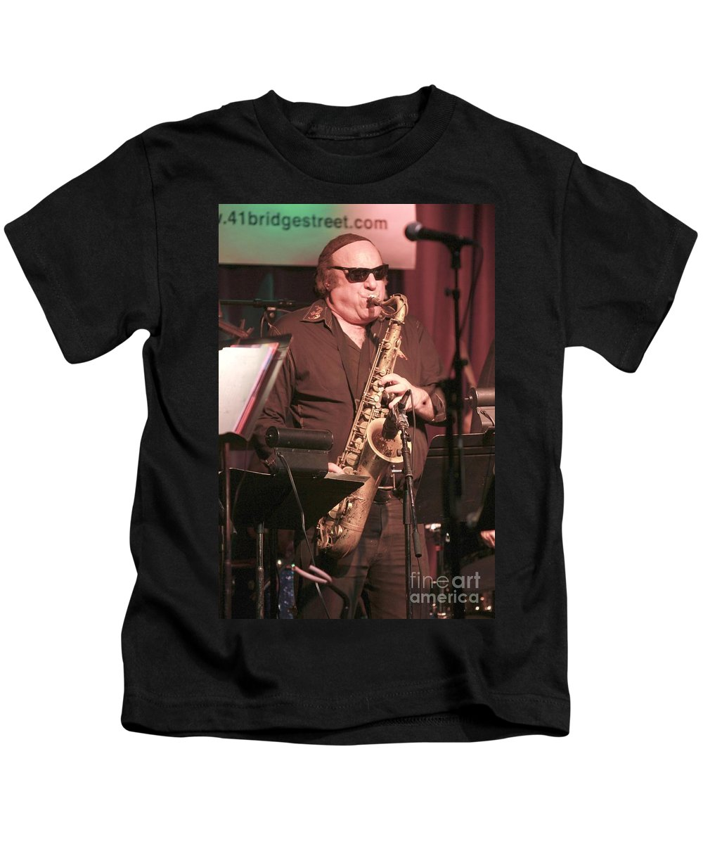 Pictures Kids T-Shirt featuring the photograph Uptown Horns - Arno Hecht by Concert Photos
