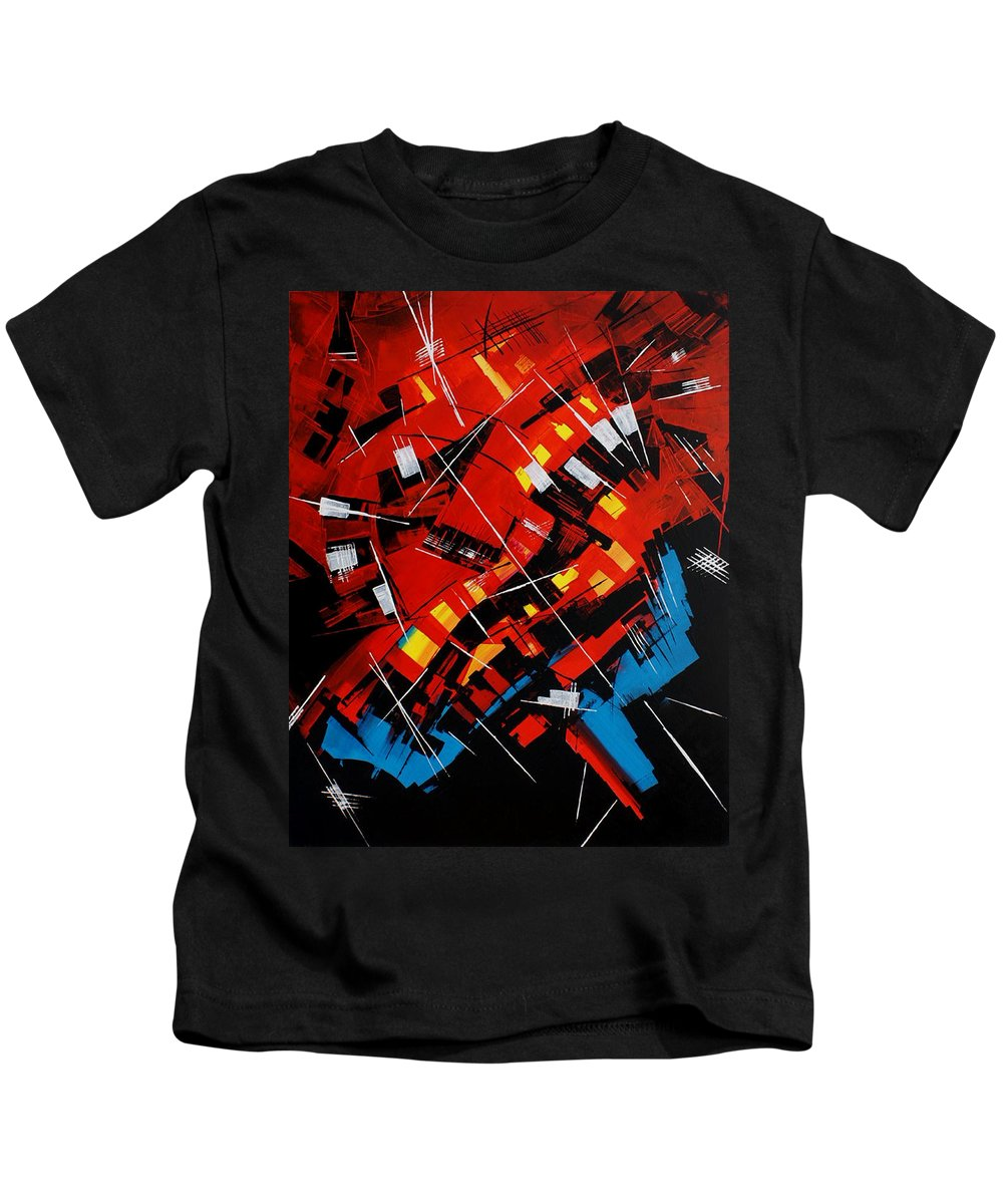 Abstract Kids T-Shirt featuring the painting Urban Communication by Miroslav Stojkovic - Miro