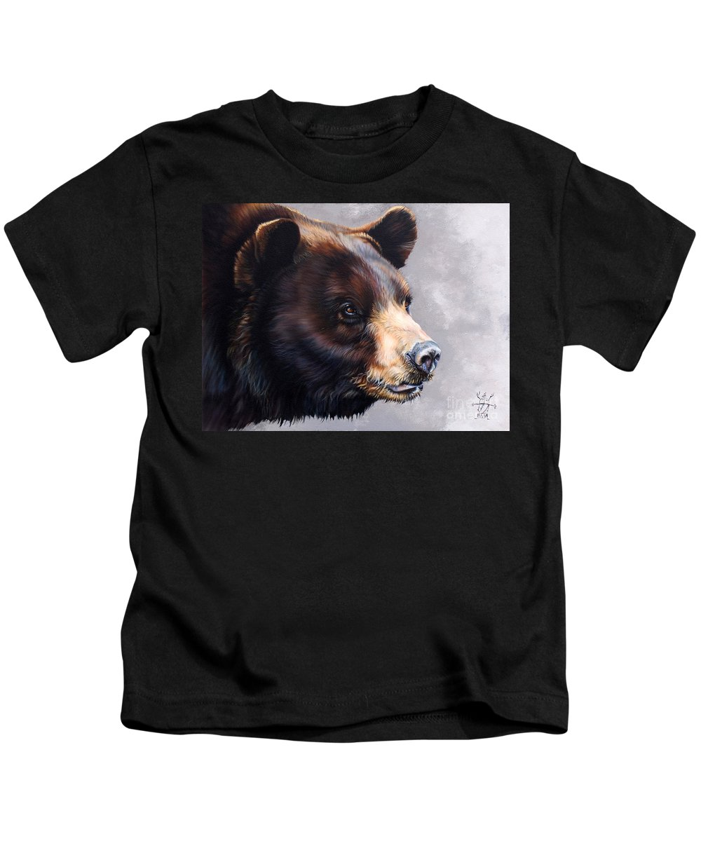 Bear Kids T-Shirt featuring the painting Ursa Major by J W Baker