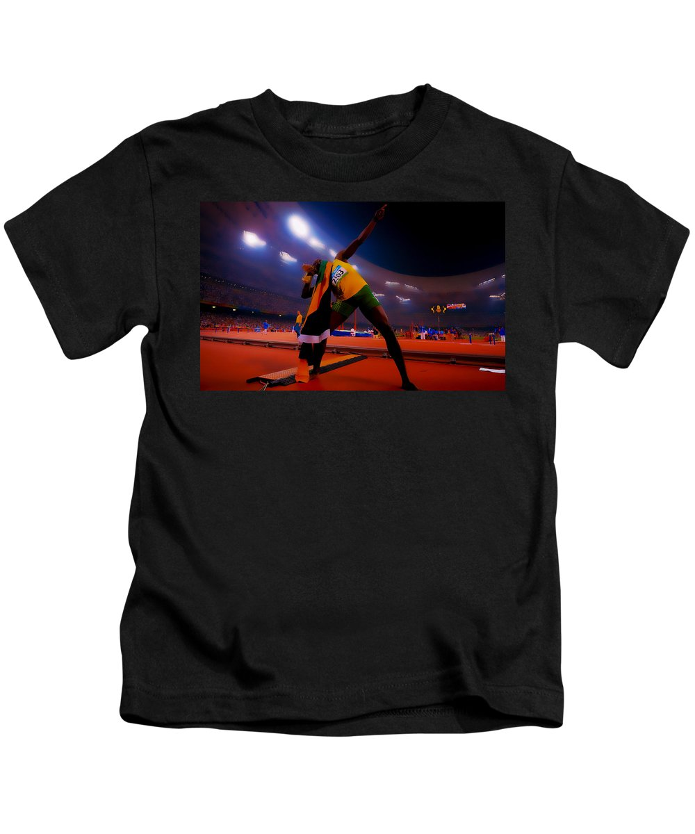 Usain Bolt Kids T-Shirt featuring the digital art Usain Bolt Number One by Brian Reaves
