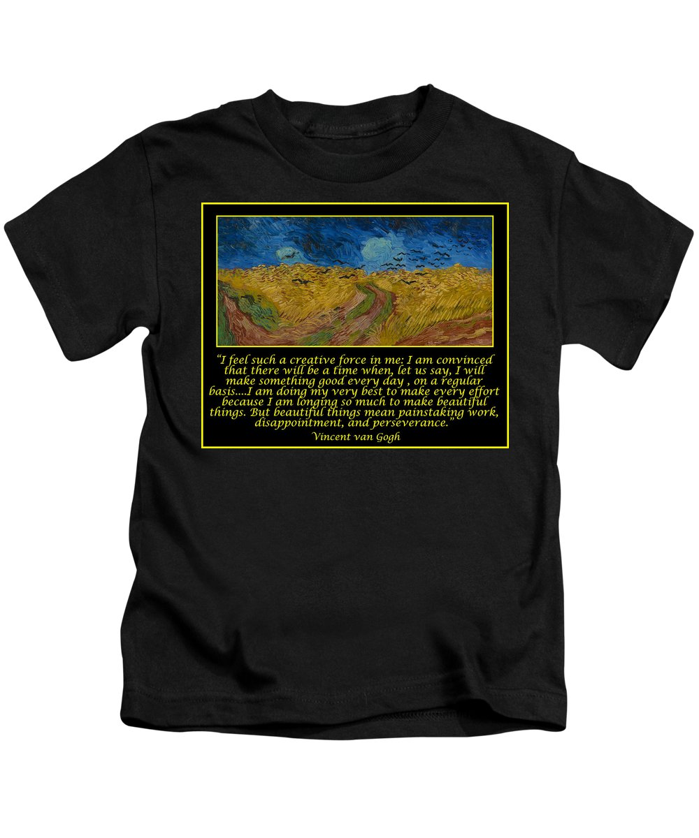Van Gogh Kids T-Shirt featuring the drawing Van Gogh Motivational Quotes - Wheatfield With Crows by Jose A Gonzalez Jr
