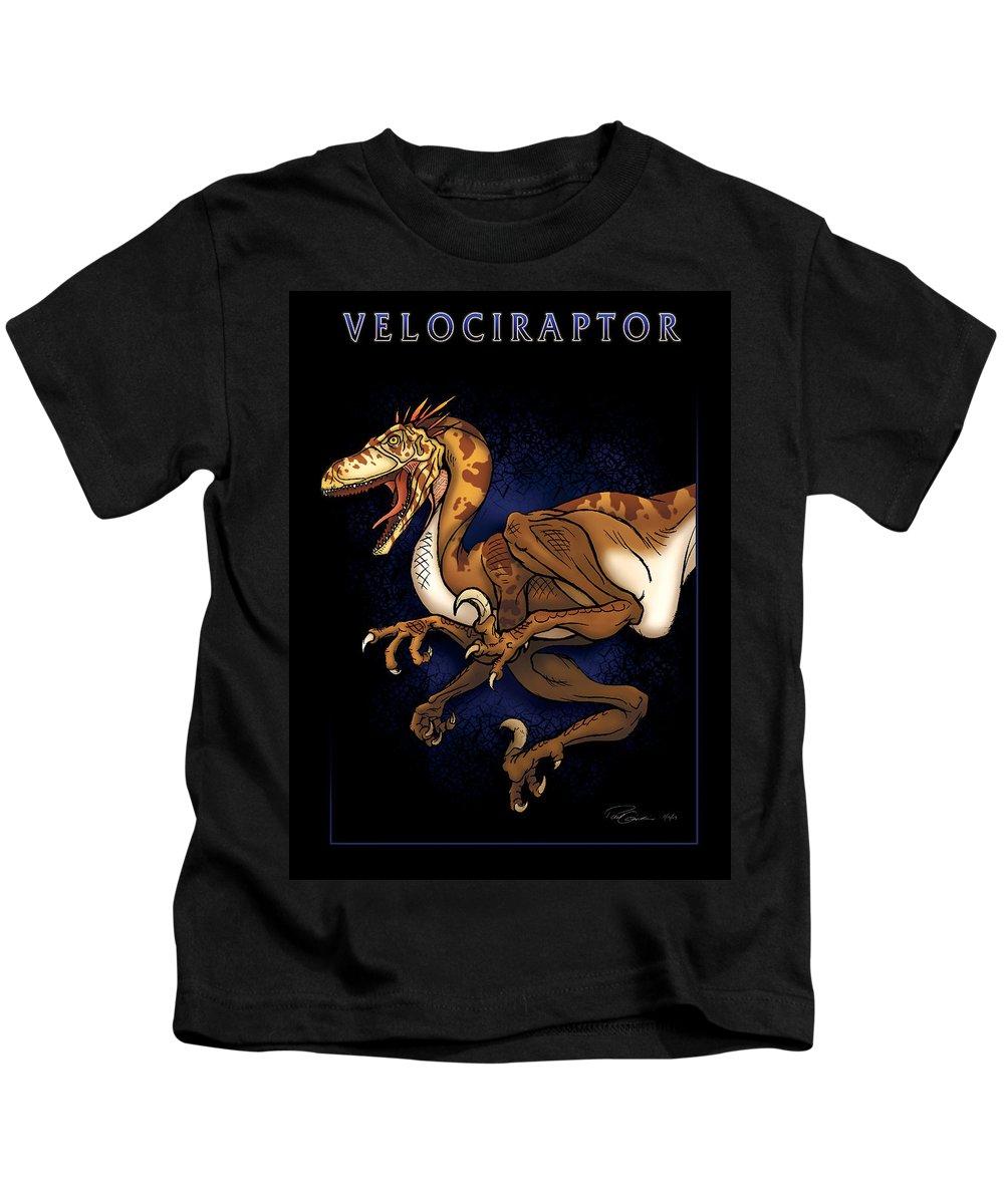 Dinosaur Kids T-Shirt featuring the digital art Velociraptor Attack by Paul Gioacchini