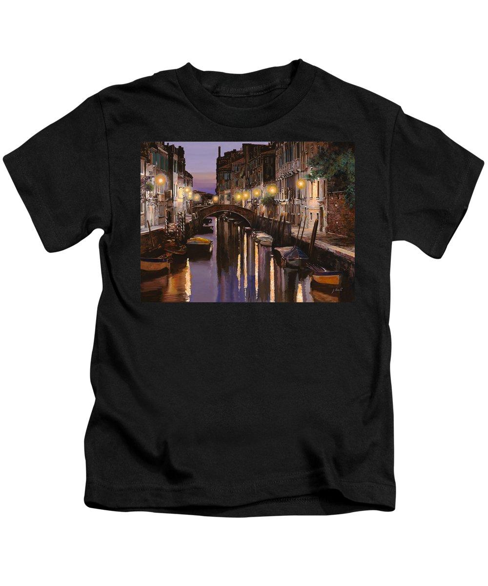 Venice Kids T-Shirt featuring the painting Venezia Al Crepuscolo by Guido Borelli