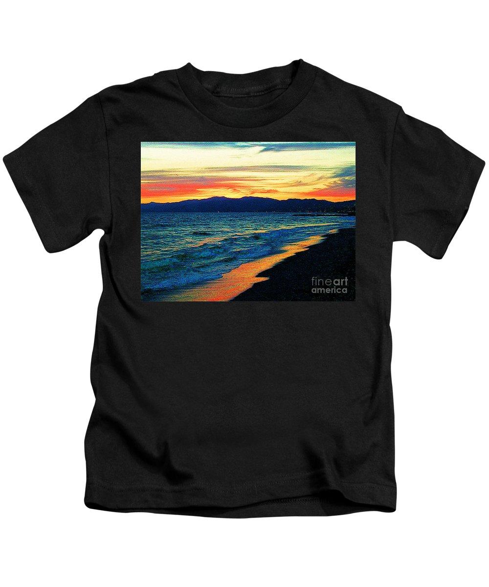 Venice Beach Kids T-Shirt featuring the photograph Venice Beach Sunset by Jerome Stumphauzer