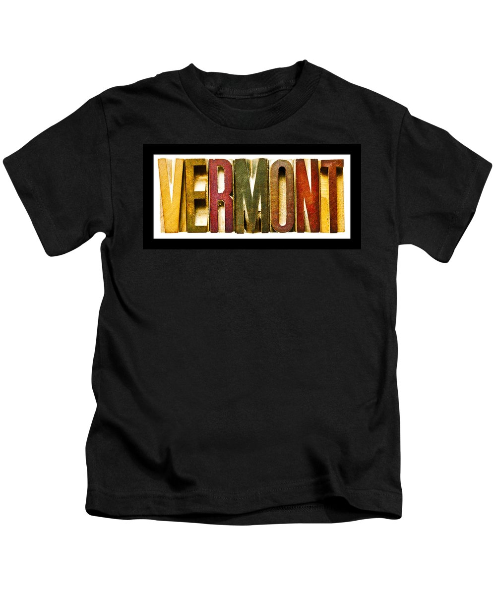 Vermont Kids T-Shirt featuring the photograph Vermont Antique Letterpress Printing Blocks by Donald Erickson