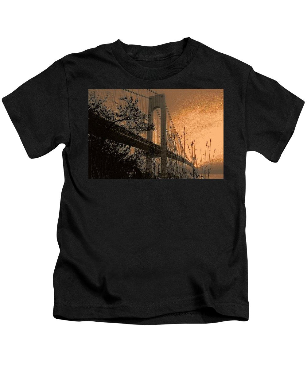 New York Kids T-Shirt featuring the photograph Verrazano Sundown by Jeff Watts